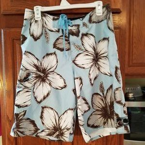O'Neill light blue Hawaiian print board shorts